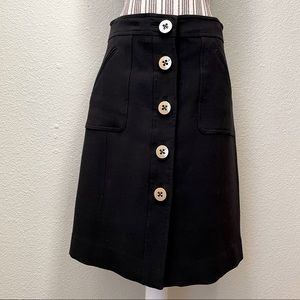 Milly Button Front A-Line Midi Skirt Black 8
